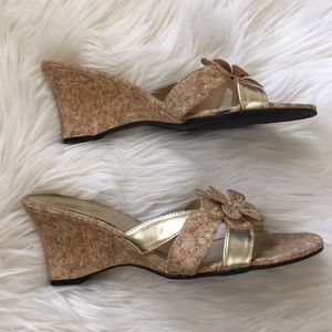 SEYCHELLES gold cork wedge sandals